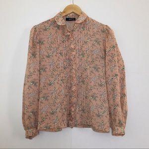Vintage Rose Pink Semi Sheer Ruffle Floral Blouse